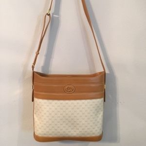 GUCCI Authentic Beige & Leather Trim Handbag